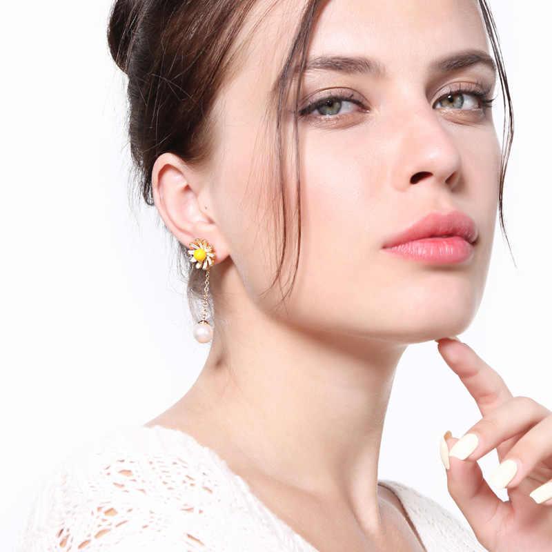 キス私韓国イヤリング 2018 甘いかわいい模造真珠エナメルの花のイヤリングファッションアクセサリー