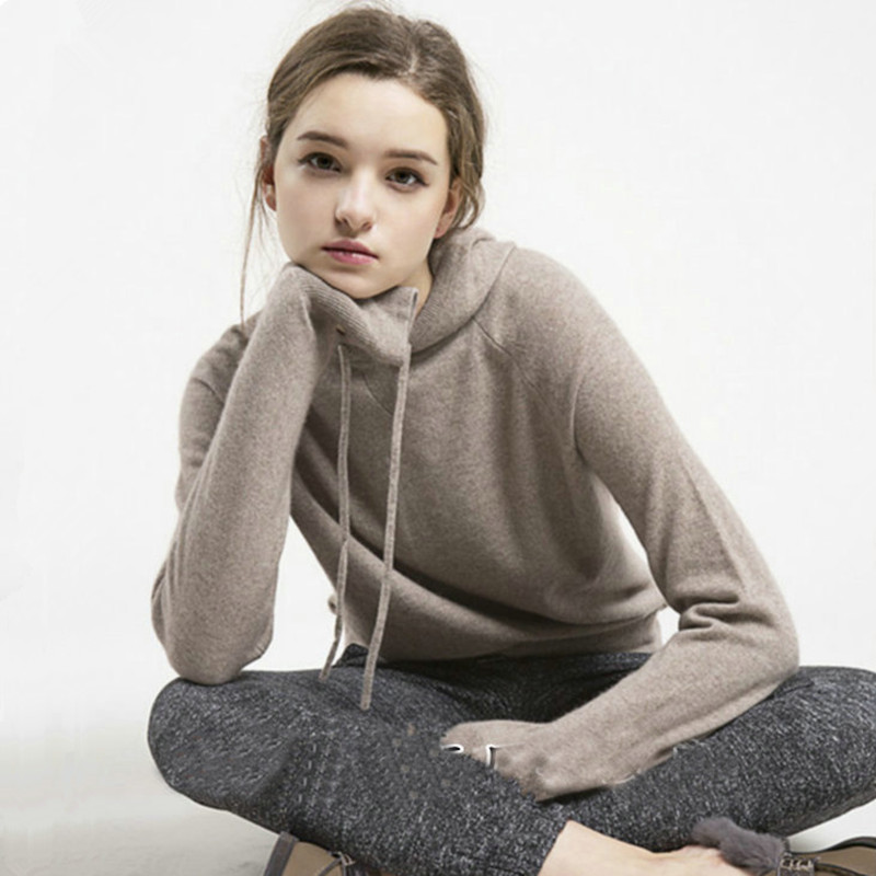2018New arrival Sweater Winter Autumn coat of Vintage Cashmere Sweater women's jackets knitted Hooded Pullover