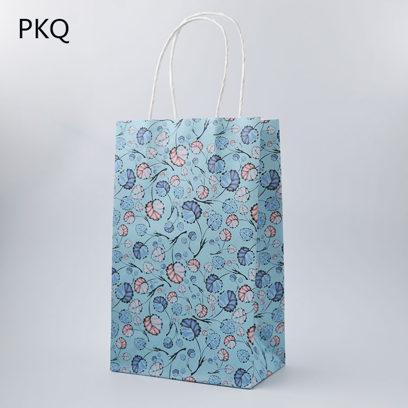 10pcs New High Quality Paper Bag With Handles 13x8x21cm Diy Multifunction Festival Gift Wedding Party Kraft Gags
