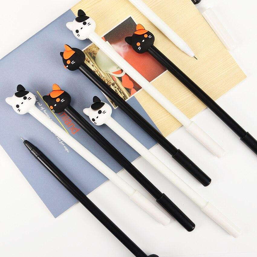 2PCS Black Cat Gel Pen Kawaii Korean Stationery Creative Gift Signing Pen School Supplies 0.5mm