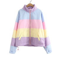 2018 Zipper Hooded Jacket Women Autumn Winter Casual Macaron Rainbow Splicing Color Pastel Panel Puffer Jacket Coats