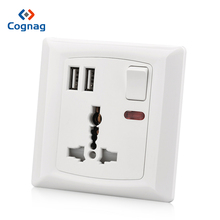 купить PC White usb Wall Universal Socket 13A 250V Power Socket Electric Outlet with 2100mA 2 USB charge port дешево