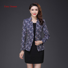 Fairy Dreams Women Blazers Print Coat Formal Jacket 2017 New Style Long Sleeve Autumn Plus Size Clothes Jacquard Outerwear XXXL