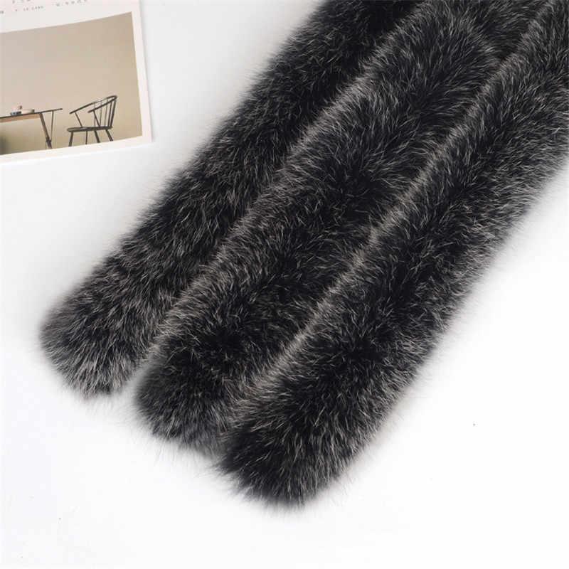 จริงขนสุนัขจิ้งจอกผ้าพันคอแท้ 100% 70 ซม.ฤดูหนาวสำหรับผู้ชายผู้หญิงเสื้อผ้าร้อนขายสวมคอ