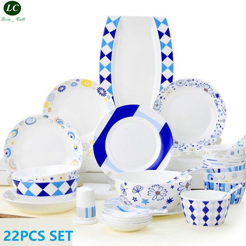 Service de vaisselle assiette de cuisine | 22 pièces vaisselle de cuisine, bols à manger, assiette de poisson