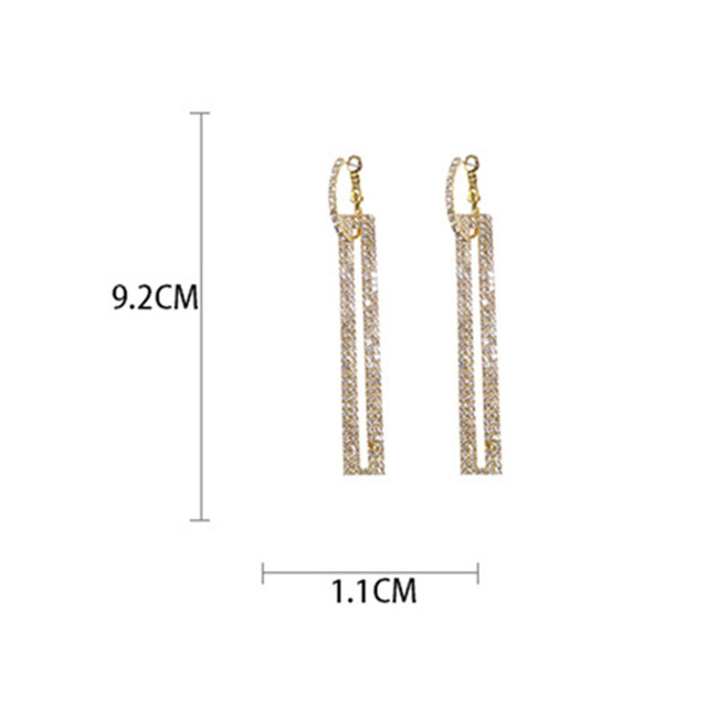 FYUAN Fashion Long Geometric Drop Earrings Luxury Gold Silver Color Rectangle Rhinestone Earring for Women Party Jewelry Gift 6