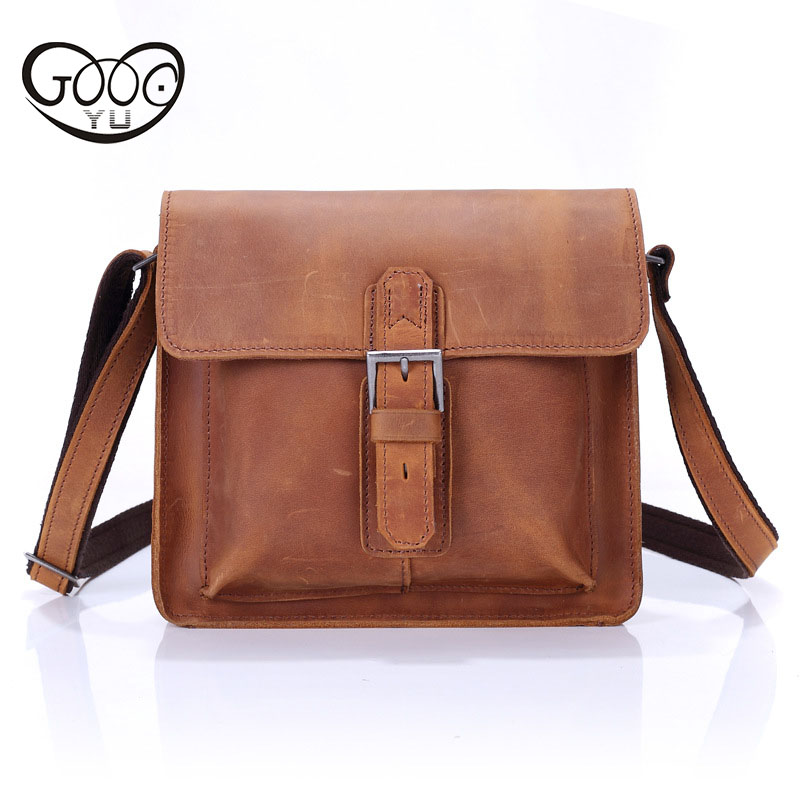 Men's mad horse leather shoulder bag fashion Messenger bag selected first layer of leather Japan and South Korea version of smal new korean version of the first layer of leather pillow bag large lychee pattern handbag shoulder messenger fashion leather leat