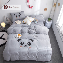 Liv-Esthete Fashion Funny Panda Cartoon Bedding Set Soft Duvet Cover Flat Sheet Pillowcase Double Queen King Bed Linen Hot Sale