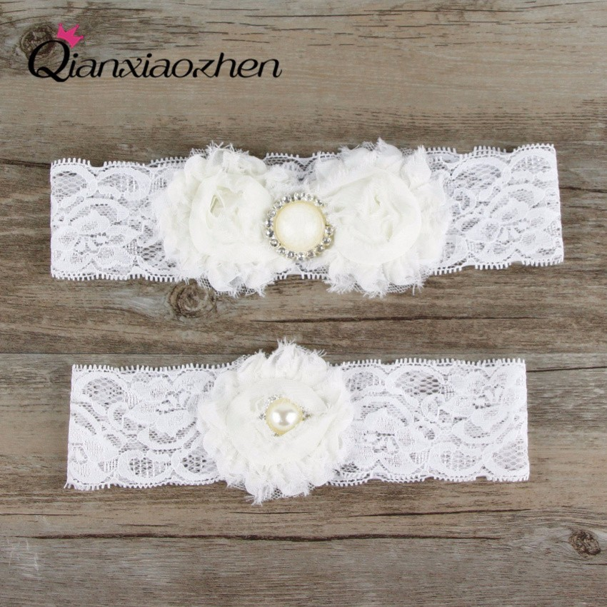 Why Two Garters For Wedding: Qianxiaozhen 2pcs/set Lace Leg White Wedding Garter Bridal