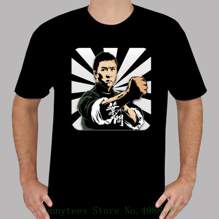 New Ip Man Donnie Yen Action Movie Kung Fu Men's Black T Shirt Size S To 3xl High Quality Casual Printing Tee image