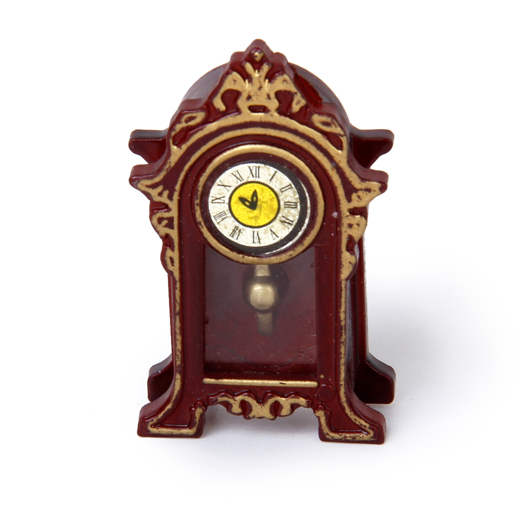 Brand New 1:12 Dollhouse Miniature Wooden Classical Desk Clock Classic Toys Pretend Play Furniture Toys Doll House Decoration