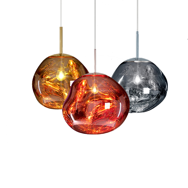 PVC Melt Pendant Lights Red Silver Gold Lava Irregular Hang Lamp for Dinning Room Bar Lamp Living Room Bedroom Suspension Light