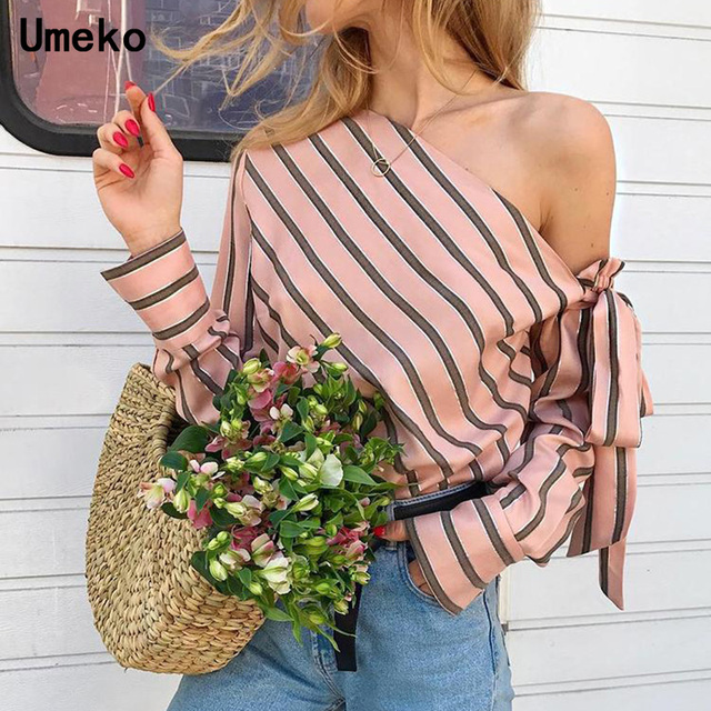 Women One Shoulder Tops Striped Long Sleeve Blouses Bow Casual Elegant Office Ladies Blouse Female