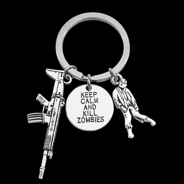 Classic Movie The Walking Dead Accessories Key Chains Keep Calm And Kill  Zombie Brand AK 47 18ea32c70f