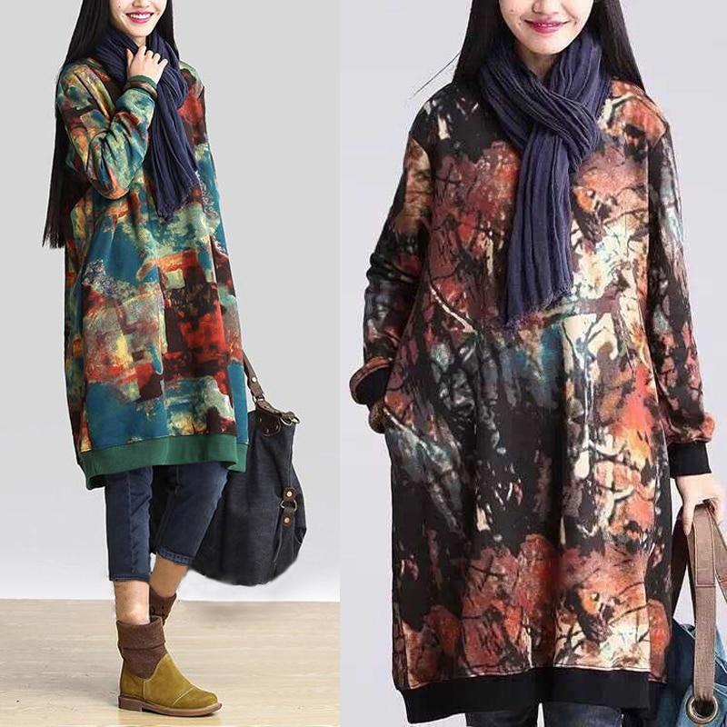 2019 Celmia для женщин Винтаж Платье с принтом осень зима бархатные карманы повседневное свободные миди платья для более Размеры d Vestidos плюс
