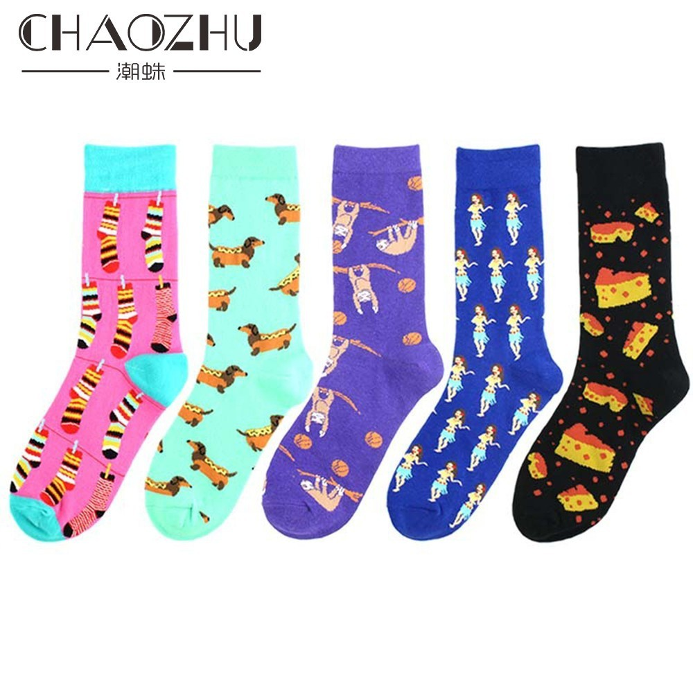 CHAOZHU Creative Pattern Cheese Hot Dog Dance Funny Crew Happy Socks Men Brand Fashion Hip Hop Harajuku Calcetines Sokken