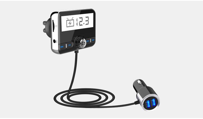 Transmisor bluetooth fm Jilang, con dos salidas para cargar dispositivos