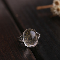 Natural Quartz Rutilated Stone Solid Silver 925 Rings Women Real 925 Sterling Silver Natural Crystal Jewelry