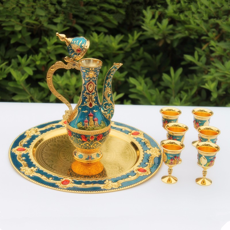 Free shipping golden and blue color metal Sherbet set/tea set, fashion zinc alloy Sherbet set, 1 set= 1 plate+ 1 pot +6 cups