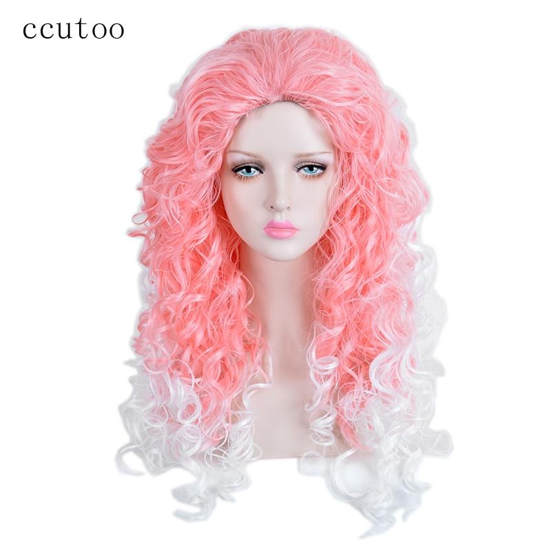 Ccutoo 28 дюймов Розовый Белый Ломбер Волнистые Длинные Без Челки Синтетический Парик Для Хэллоуина Косплей Парик Волос Термостойкость Волокна