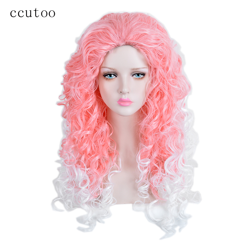 ccutoo 28inch Pink White Ombre Wavy Long Without Bangs Synthetic Wig For Halloween Party Cosplay Wig Hair Heat Resistance Fiber