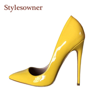 Stylesowner 2018 new extreme high pumps shoes for women high quality shallow mouth sexy single shoe slip on party shoes yellow