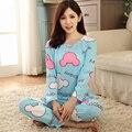 Nueva caliente 2016 Del Otoño Del Resorte Para Mujer Pijama O-cuello de Manga Larga Mujer ropa de Dormir Pijamas camisón de las muchachas para mujer envío gratis