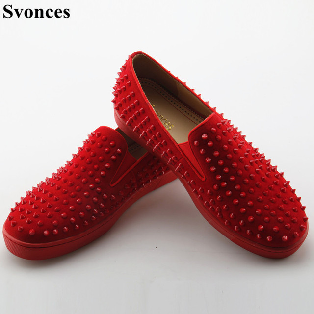 Svonces Studs Red Bottom Loafers Men Flats With Spikes Zapatos Hombre Rivet  Red Suede Slipper Shoes Mens Wedding Dress Shoes 0d73fbe52834