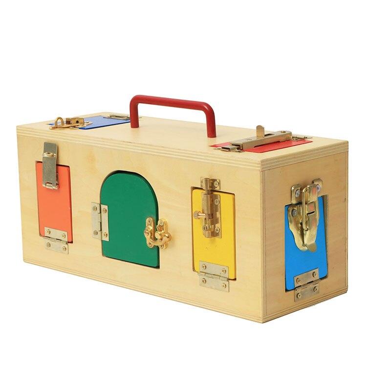 Montessori enfants jouet bébé Montessori sensoriel en bois serrure boîte éducatif bébé apprentissage jouets Juguetes Brinquedos ME2164H
