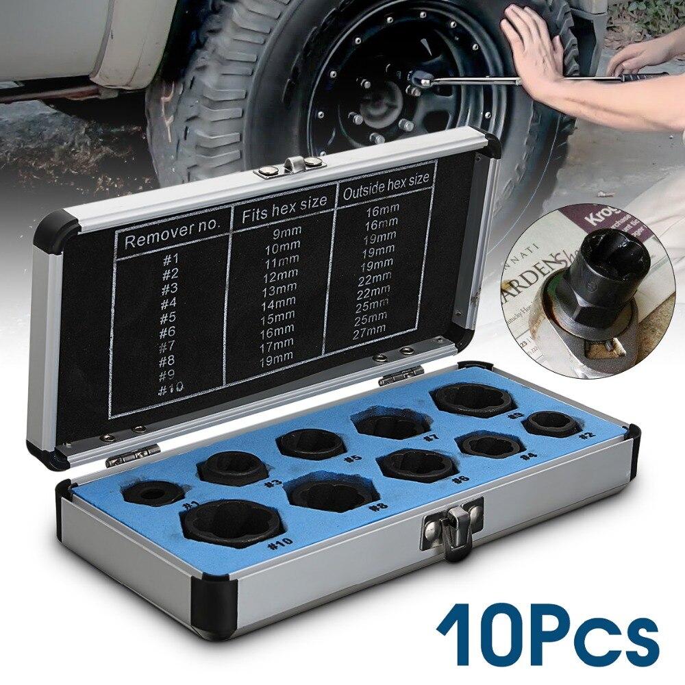 10 pcs Porca e Parafuso Danificado Removedor Conjunto Extrator Do Parafuso Prisioneiro (9-19mm) Remoção Do Parafuso Quebrado Kit Preto Metric