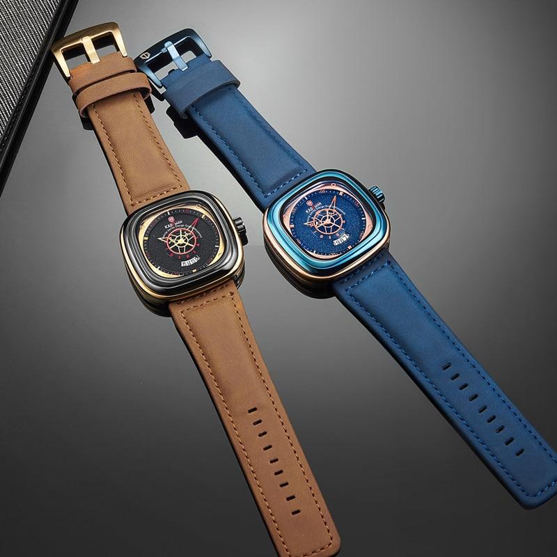 2019 hommes de luxe montres nouvelle mode carré Quartz montre haut marque KADEMAN décontracté en cuir montres affaires Relogio Masculino 2