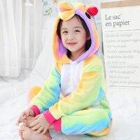 2018 New Colorful Unicorn Onesie Kids Kigurumi Unicorn Flannel Winter Kawaii Hoodie Pyjamas Children Animal Sleepers