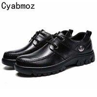 Fashion 2017 Men Genuine Leather Dress Shoes Mens Oxfords Flats Big Size Black Casual Shoes 46