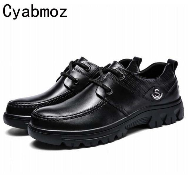fa18c6311e Moda 2017 homens genuínos sapatos de couro