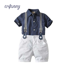 Europe and the United States new children's Set summer boy bow tie printed stars shirt + strap shorts suit male baby clothes цена 2017