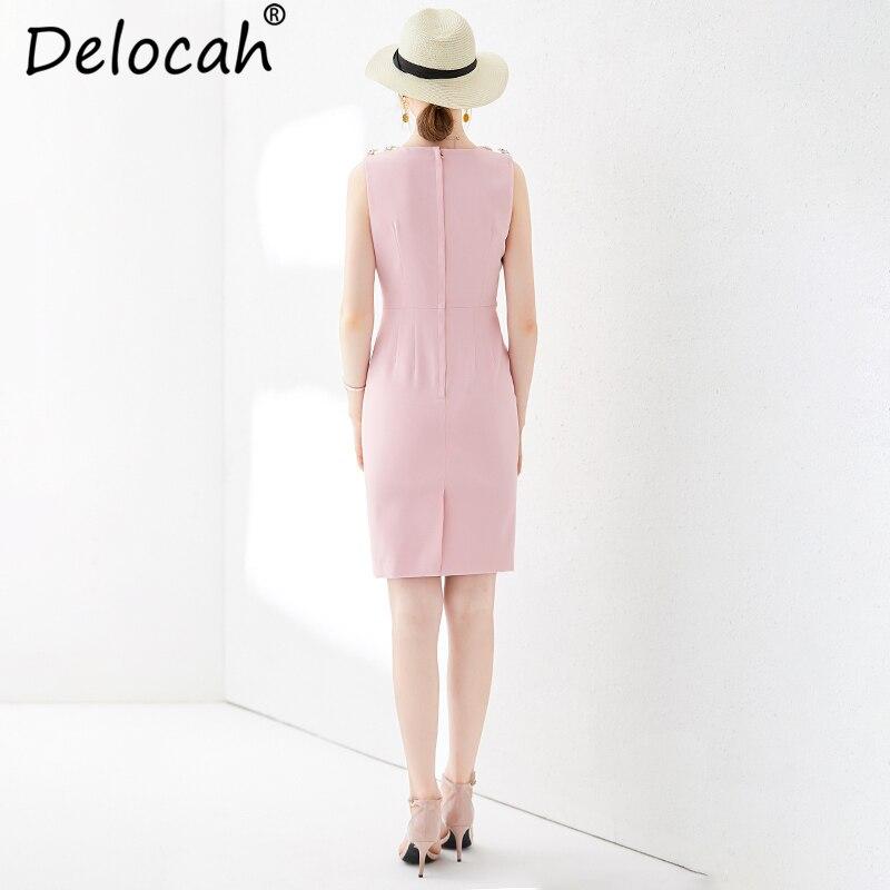 Delocah femmes été rose mince robe piste mode sans manches recueillir taille élégante décontracté célébrité fête Midi robes 2019 - 5