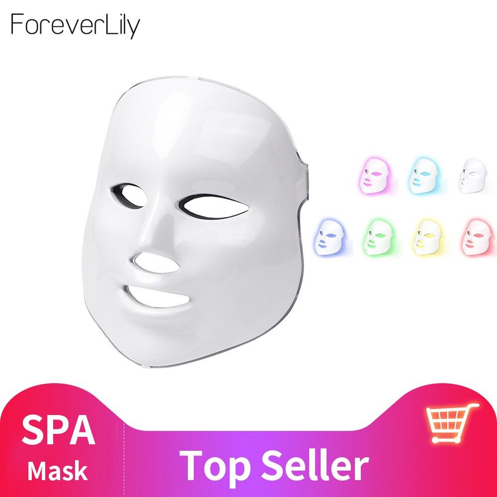 Foreverlily belleza fotón LED máscara Facial terapia 7 colores de luz para el cuidado de la piel rejuvenecimiento arruga eliminación de acné cara belleza Spa