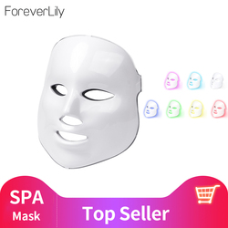 foreverlily Beauty Photon LED Facial Mask Therapy 7 colors Light Skin Care Rejuvenation Wrinkle Acne Removal Face Beauty Spa