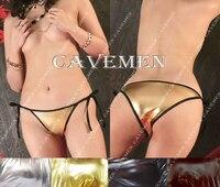 Side Tie Metallic Color Leather 2347 Ladies Thongs G String Underwear Panties T Back Swimsuit Bikini