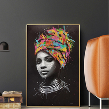 Abstract Black Woman Posters and Prints Portrait Canvas Painting Scandinavian Wall Pop Art Picture for Living Room Cuadros Decor