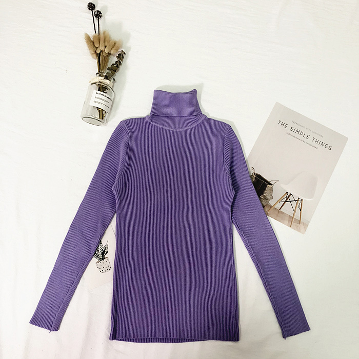 Женские свитера, зимние топы, водолазка, свитер для женщин, тонкий пуловер, джемпер, вязаный свитер, Pull Femme Hiver Truien Dames, новинка - Цвет: Фиолетовый