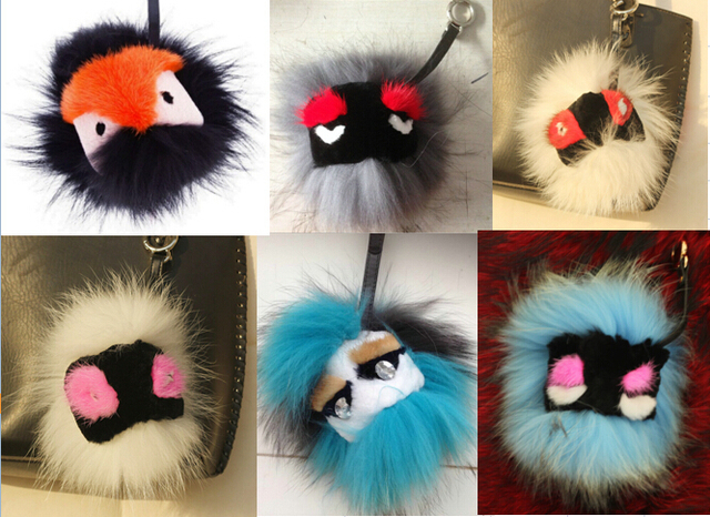 hot 18 Style  Bag Charms Black leather wallet Pom Pom real fur cartoon monster doll keychain charm golf cart bag pendant strap