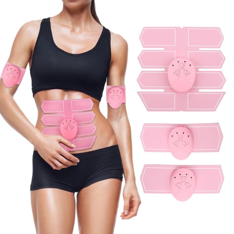 Weibliche rosa bauch muskel trainer aufkleber massager stimulation pad Abs dünne sport aufkleber fitness gym ausrüstung für hause