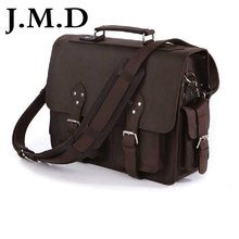 J.M.D 100% Vintage Genuine Crazy Horse Leather Cool Men Travel Bags Totes Shoulder Messenger Bag Big Bag Handbags 7145