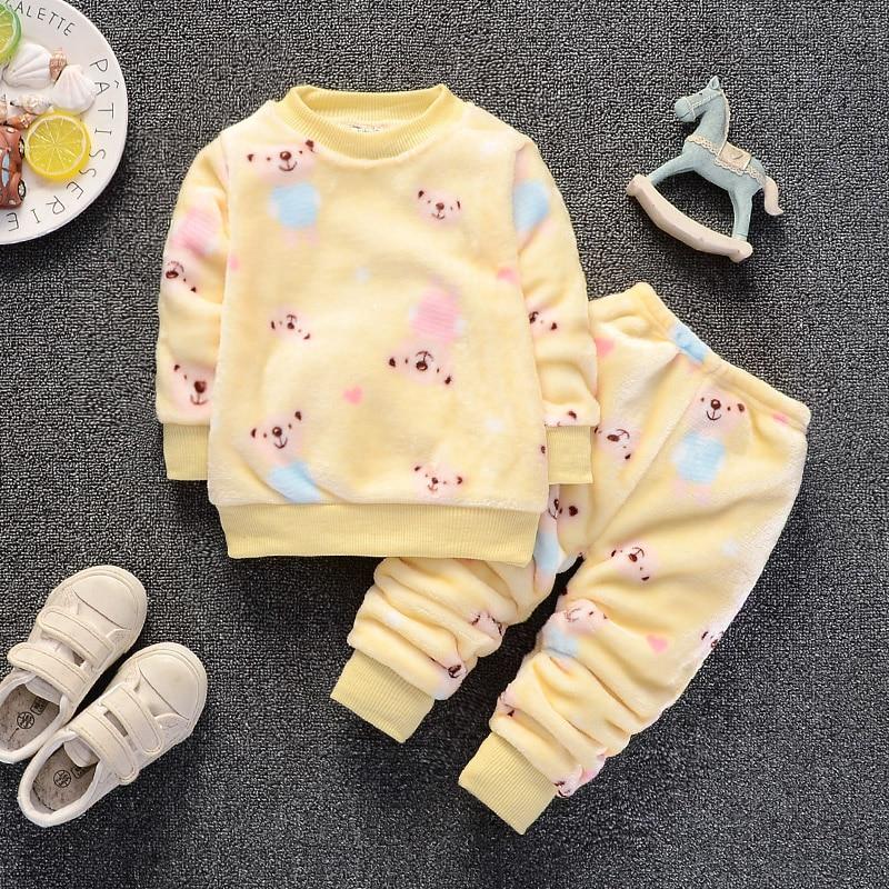 3ce558f9f Winter Children Clothing Set Fleece Baby Bottoms Thicken Thermal ...
