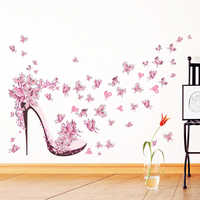 Pink Butterfly High Heel Style Wall Stickers Bedroom Living Room Back Wall Decor 2017 PVC Wall Decals