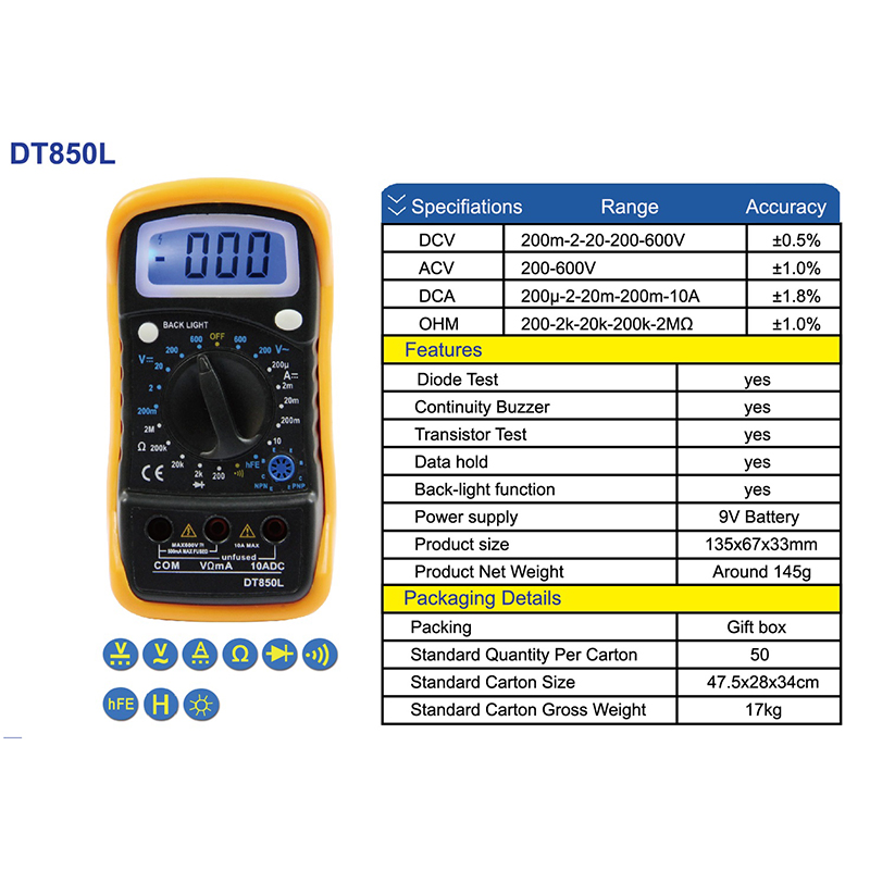 Image 5 - Urijk Portable Digital Multimeter Backlight AC/DC Ammeter Voltmeter Ohm Tester Meter XL830L Handheld LCD Multimetr-in Multimeters from Tools