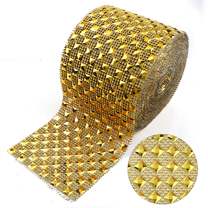 1 Yard 12 Rows 10mm Square Gold Punk Style Rivet Mesh Trim ABS Plastic Sew On For DIY Craft Jewelry Decoration