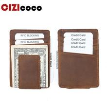Crazy Horse Genuine Leather Credit Card Holder Portable Men Thin RFID Blocking Vintage Wallet