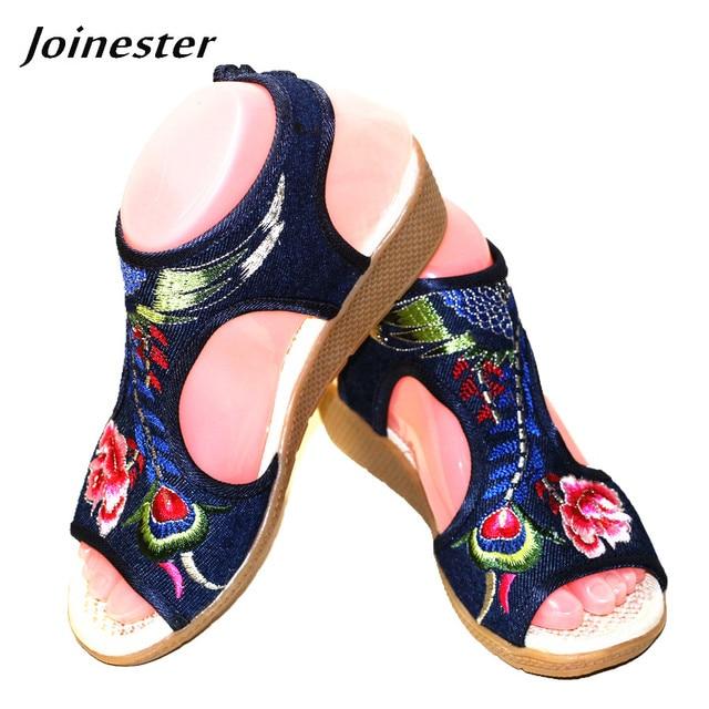 Womens Summer Floral Embroidery Peep Toe Casual Sandals Ethnic Vintage Ankle Wrap Dress Shoe Bohemia Slingback Beach Flats
